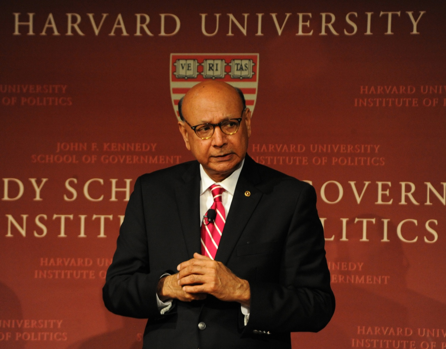 Khizr M. Khan discusses the letter that inspired him to take the stage at the 2016 Democratic National Convention at the JFK Jr. Forum at the Harvard Institute of Politics Wednesday night.