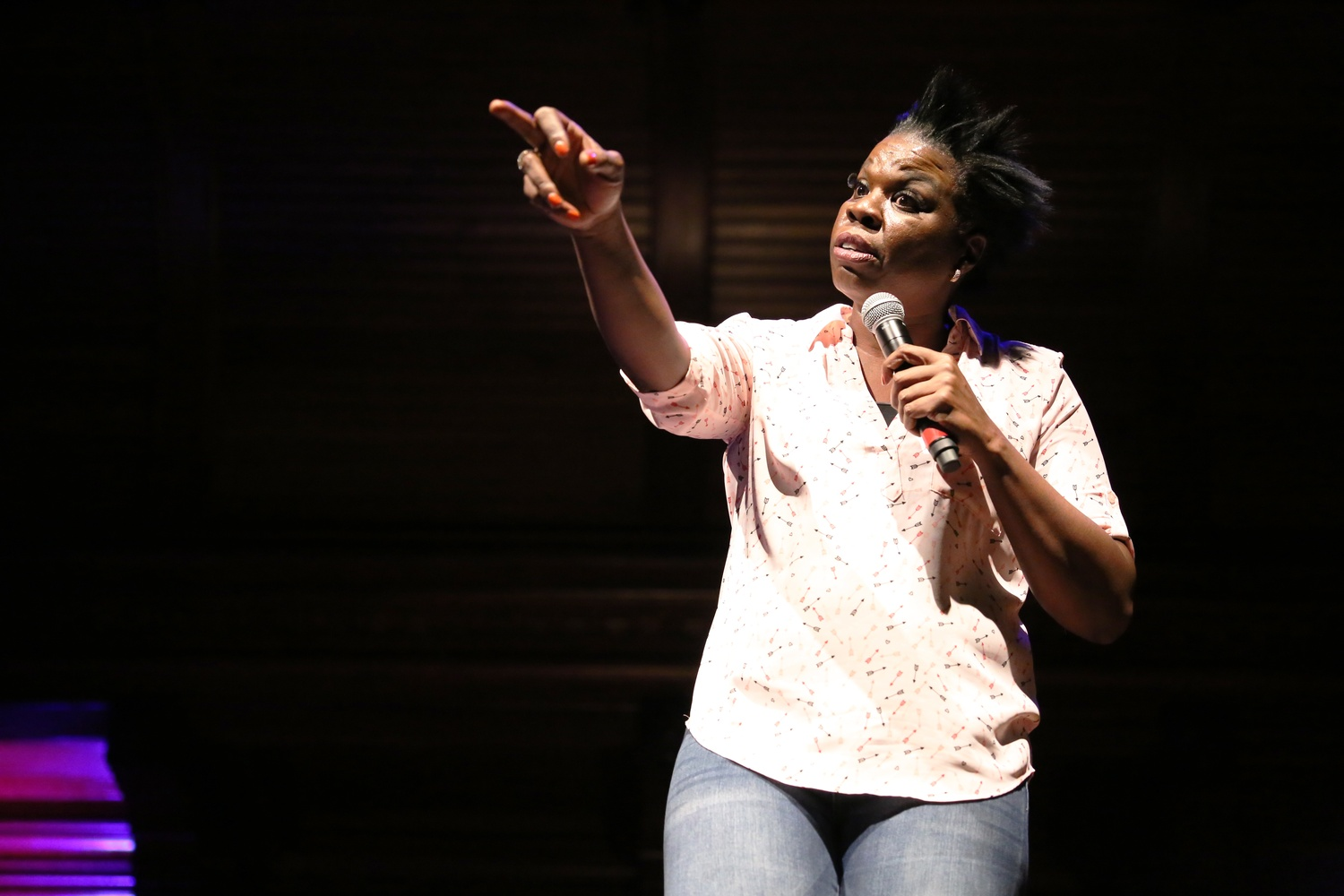 Leslie Jones, a cast member and writer for Saturday Night Live, performs in Sanders Theater on Friday night.