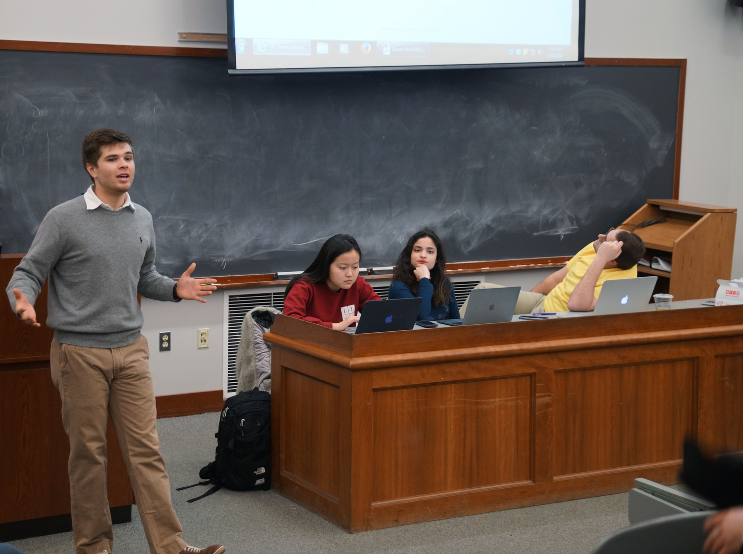 Undergraduate Council Treasurer Nicholas D. Boucher '19 presents a new method of grant approval that allows clubs to visualize the timeline.