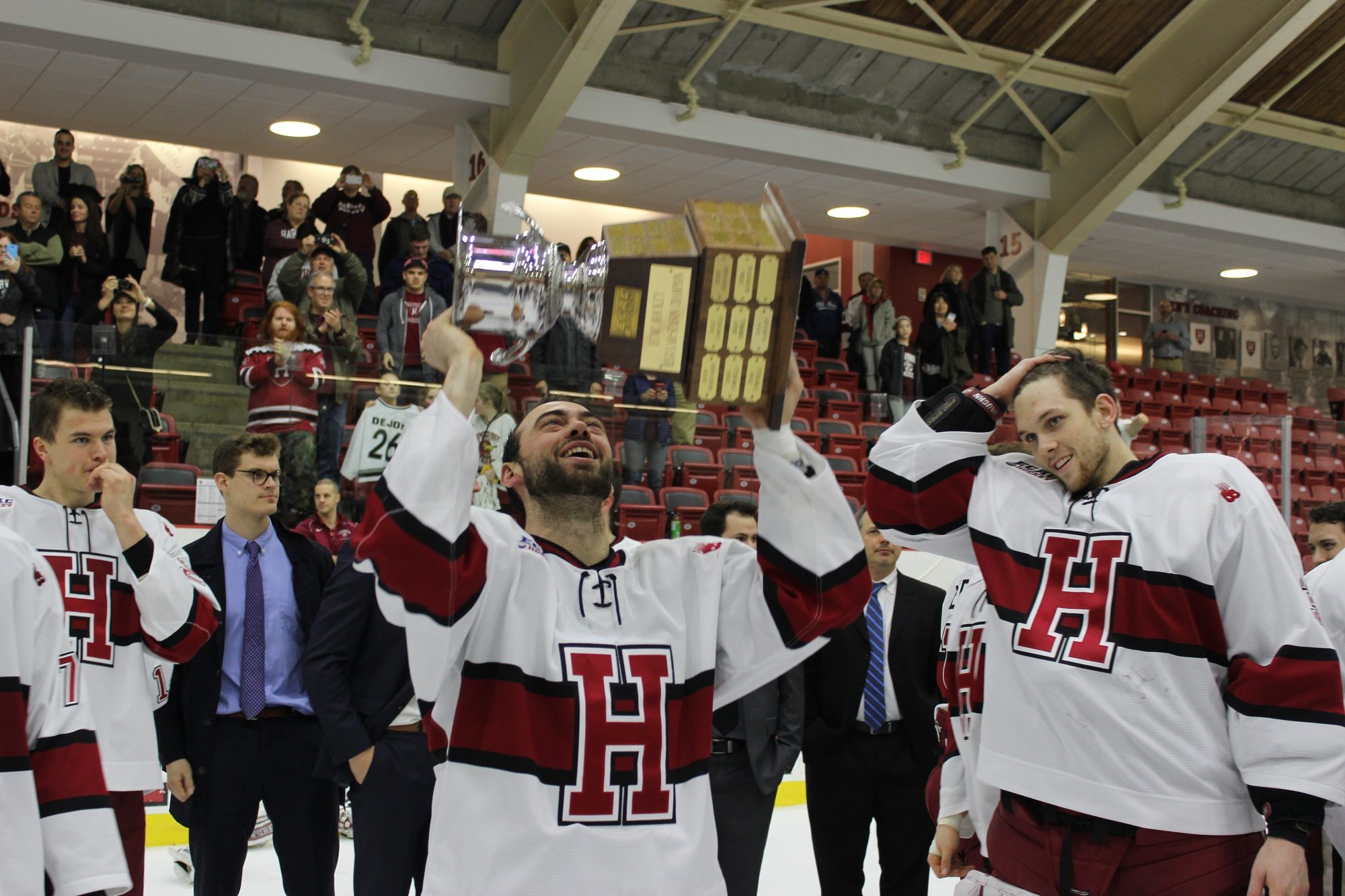 Senior Luke Esposito celebrates with the stand-in Cleary Cup.