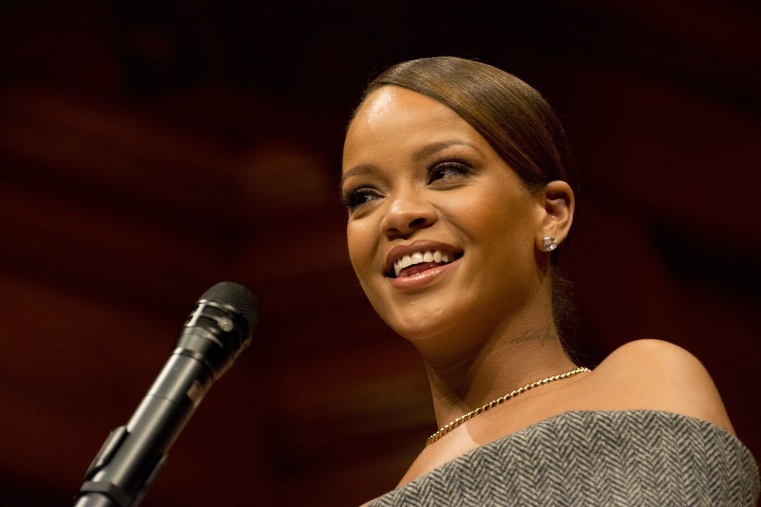 Acclaimed pop singer and philanthropist Rihanna speaks in Sanders Theater Tuesday evening. Rihanna was the recipient of the Harvard Foundation's Peter J. Gomes Humanitarian of the Year Award this year.