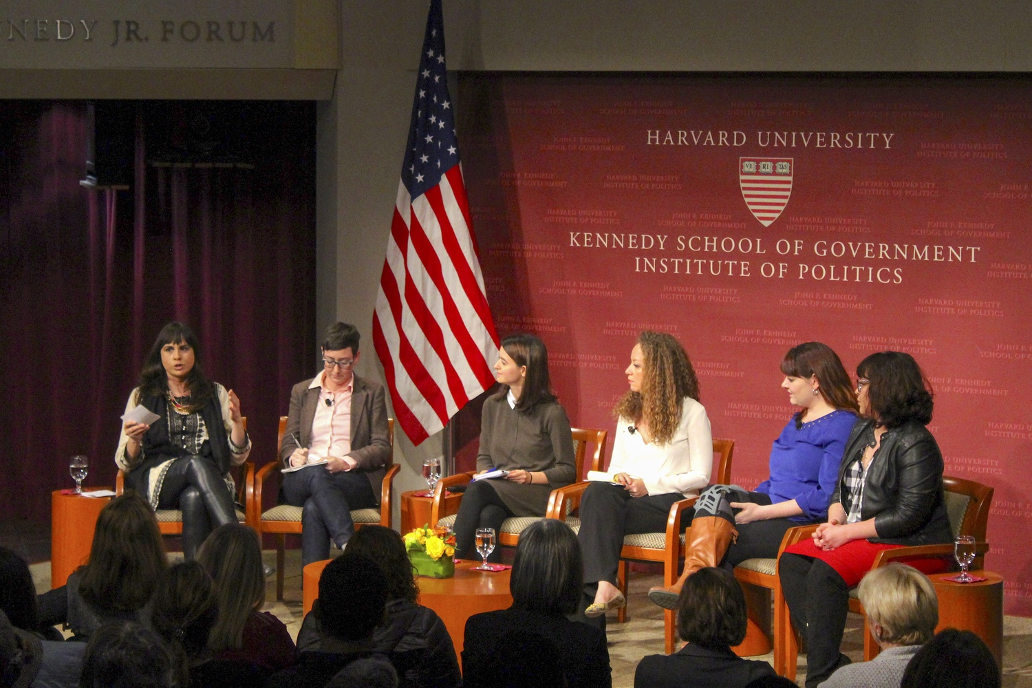 Leaders of female activism discuss the women's march and other female-led forms of protest Tuesday night at the Institute of Politics.