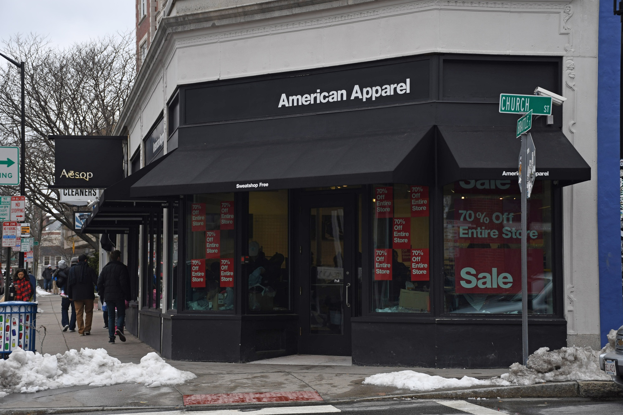 The American Apparel store on Brattle Street will close this month following the firm's bankruptcy.