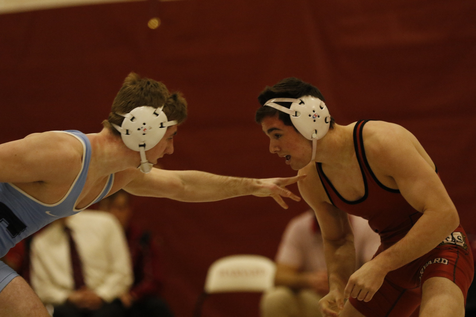 Freshman Hunter Ladnier, pictured in January's meet against Columbia, owns a 19-14 record on the year. The 149-pounder won his match against the Lions, scoring five points after a 18-3 technical fall victory in the Crimson's 24-14 triumph over its Manhattan-dwelling Ivy League rival.