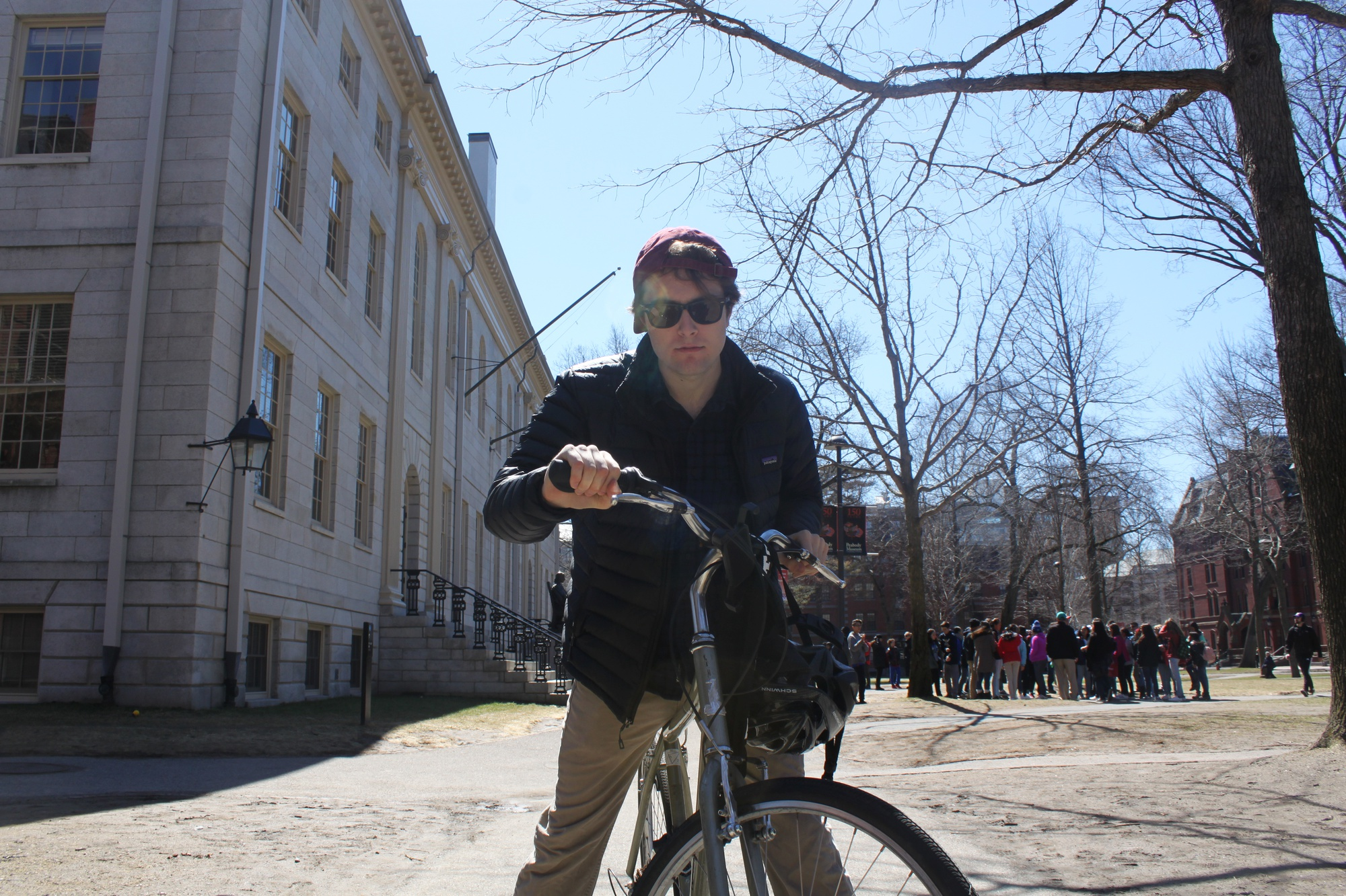 Like everyone who passes through the Yard, Drew C. Pendergrass notices the signs prohibiting biking. But he doesn't care.