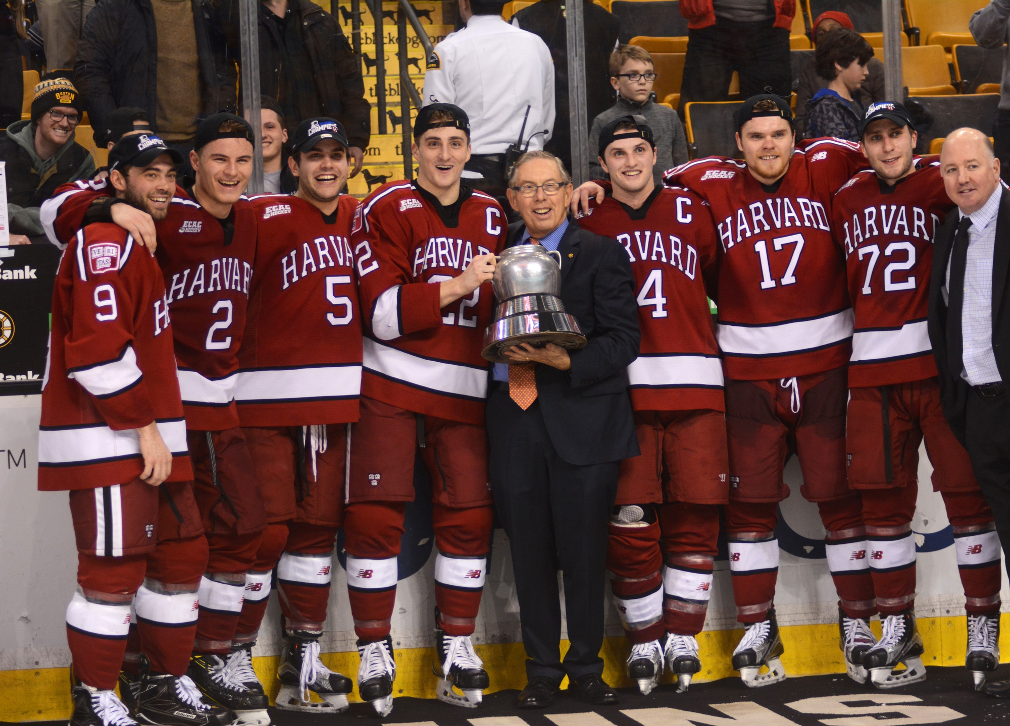 Harvard's senior class, shown receiving the Beanpot trophy back in February, heads to Chicago two wins away from the program's first national championship since 1989.
