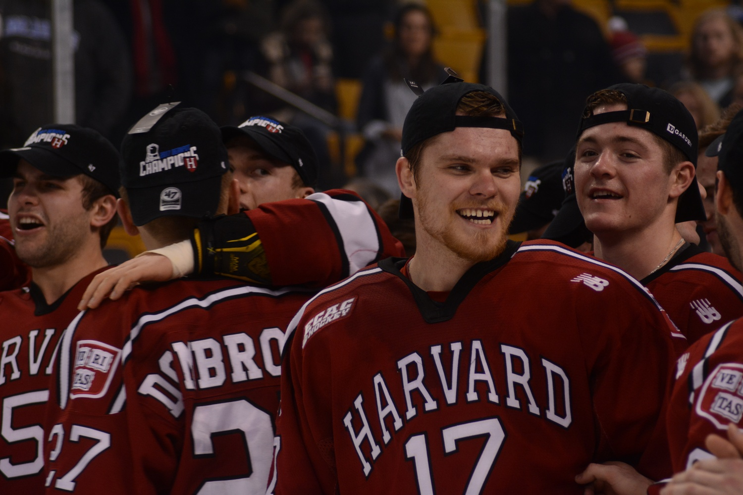 Senior Sean Malone is all smiles after winning the Beanpot.