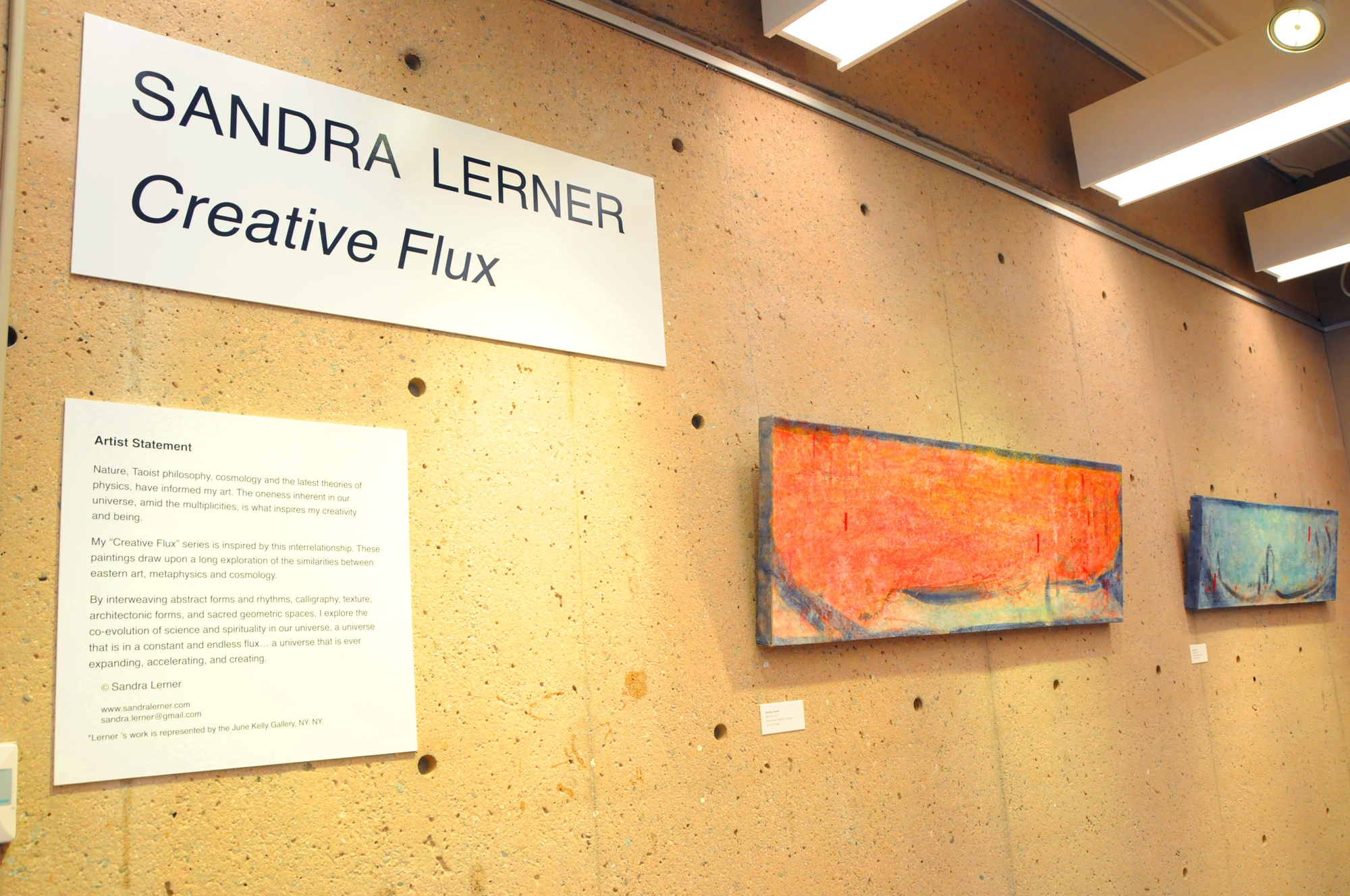Sandra Lerner explores a universe in constant flux through her art exhibit hanging in Monroe C. Gutman Library.