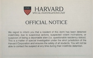 Mock notice front