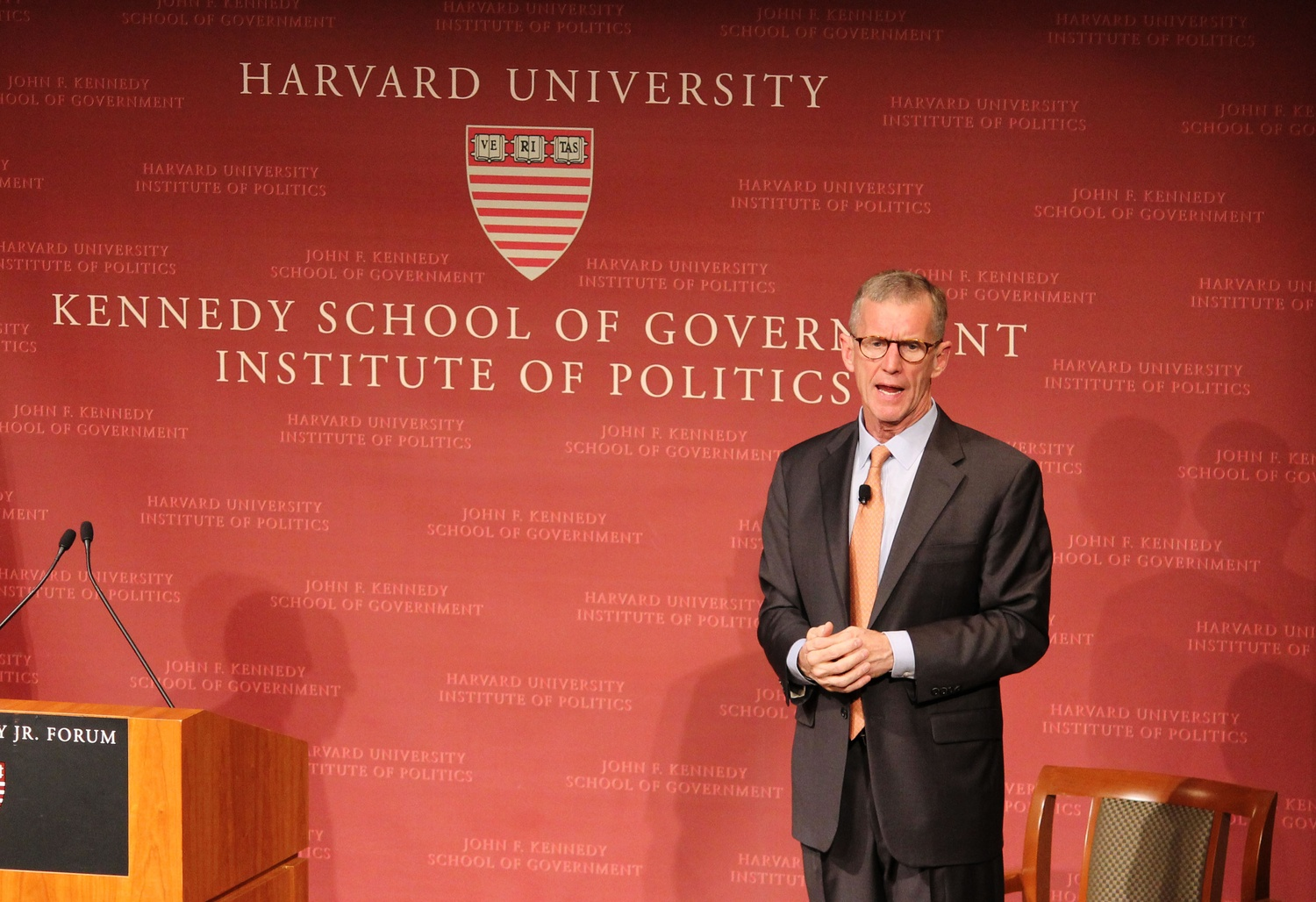 Retired Four Star Army General Stanley A. McChrystal speaks about citizenship at the Institute of Politics JFK Forum Wednesday night. He spoke of the importance of civil service and fielded questions from the Harvard community.