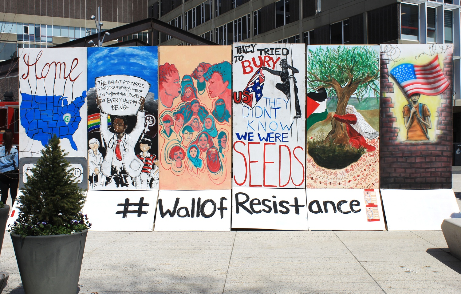 Student activists and artists came together and erected the Wall of Resistance in an act of protest against President Donald Trump's policies.