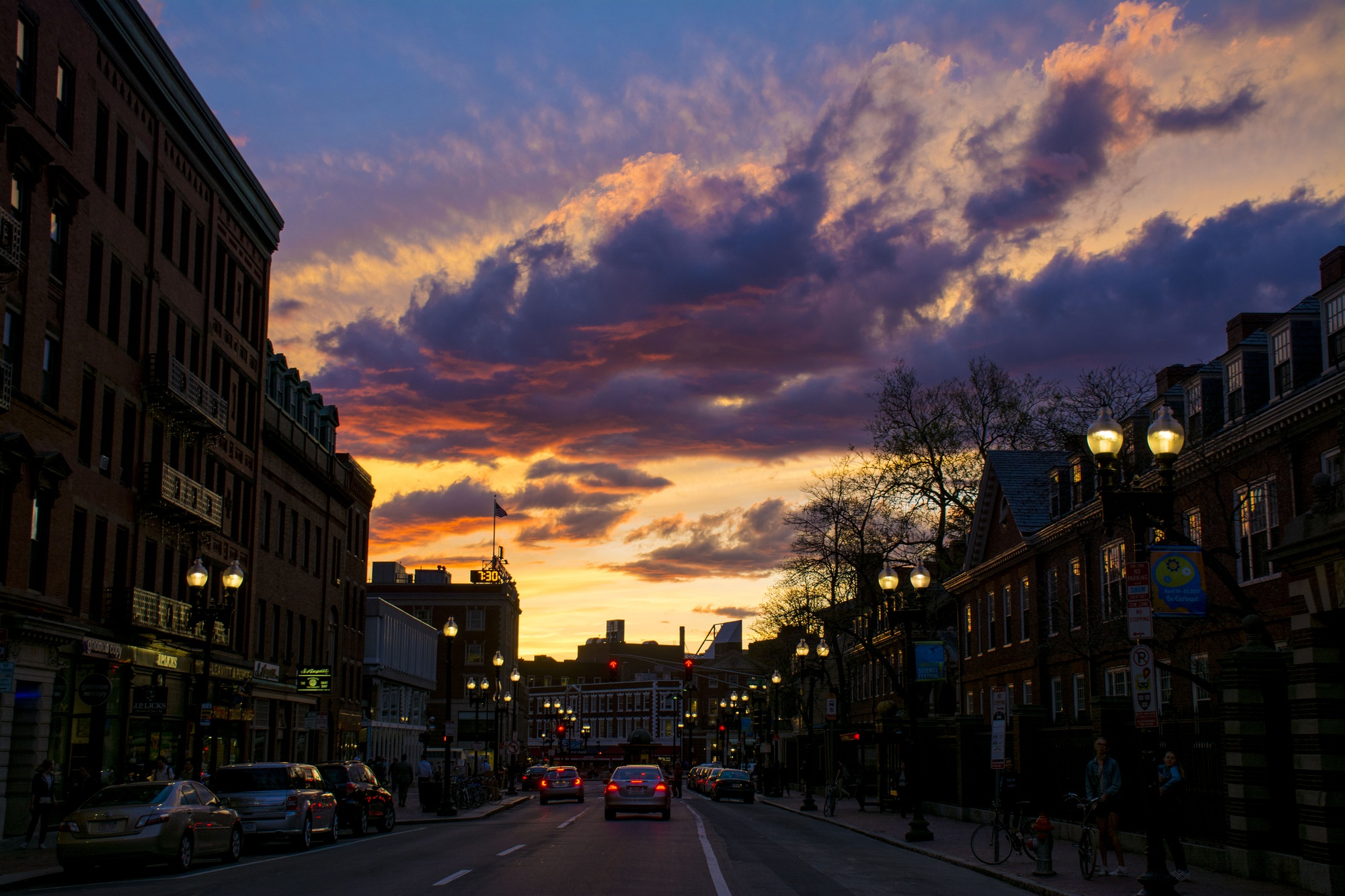 Springtime brings colorful sunsets back to Cambridge.