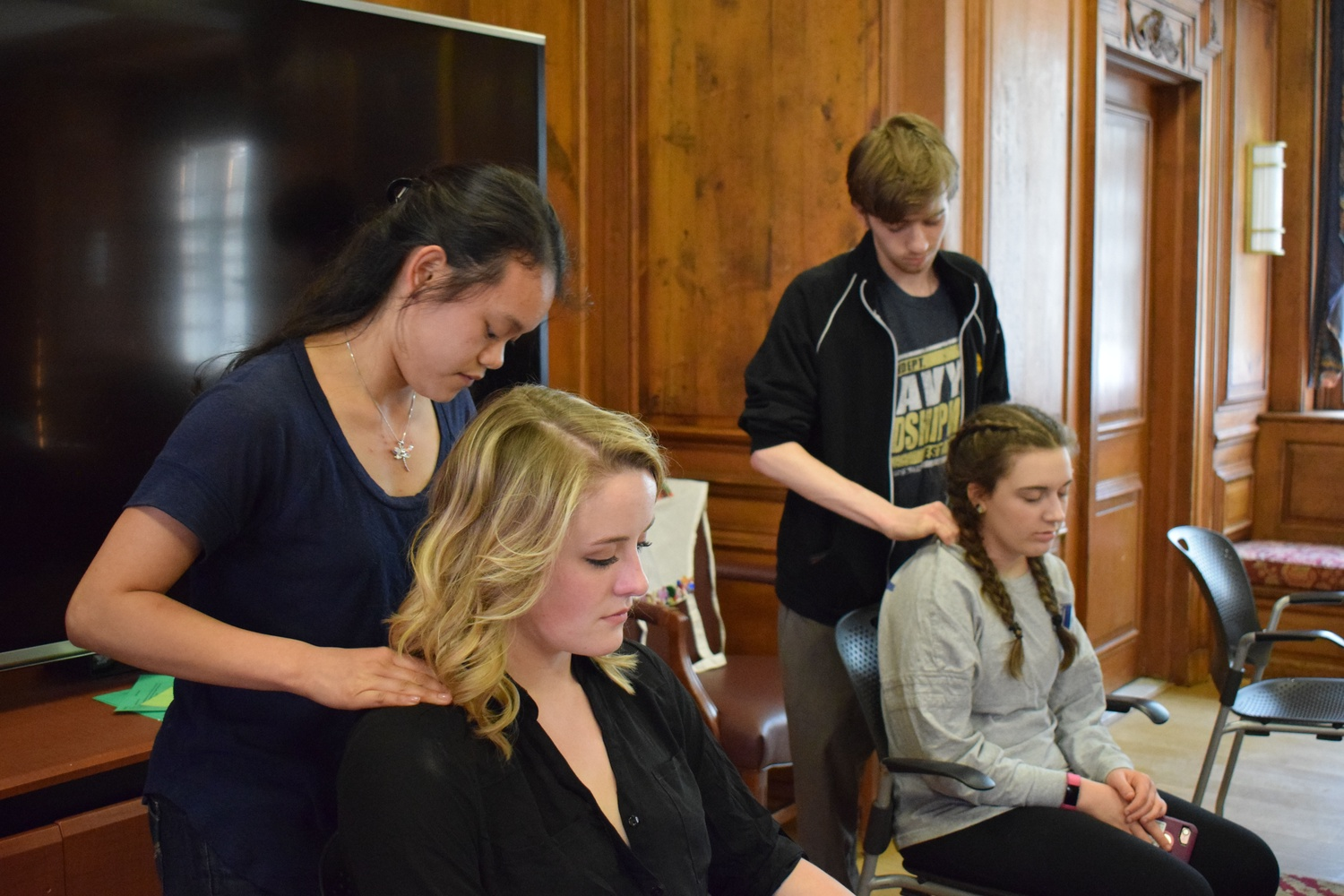 Students enjoy free massages in the Straus Common Room as a part of the Undergraduate Council 'We Care Week.'