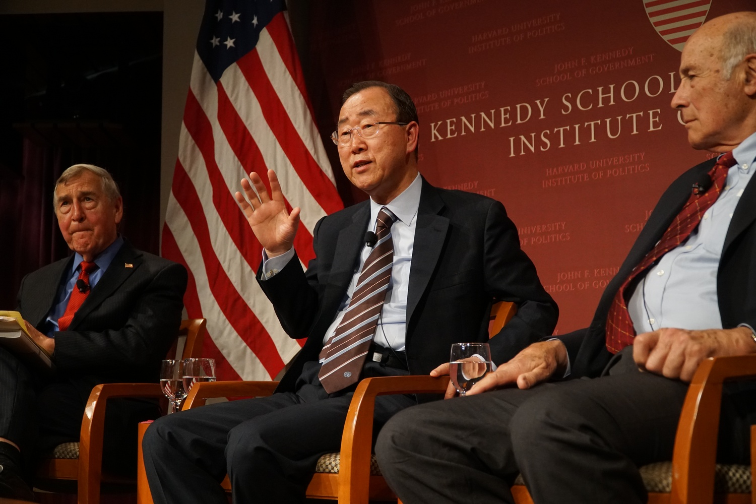 Ban Ki-moon, former Secretary-General of the United Nations, shares his opinions on global issues such as climate change, nuclear weapons in North Korea, and conflicts in Syria. Ban spoke to a full crowd at the Institute of Politics Tuesday.