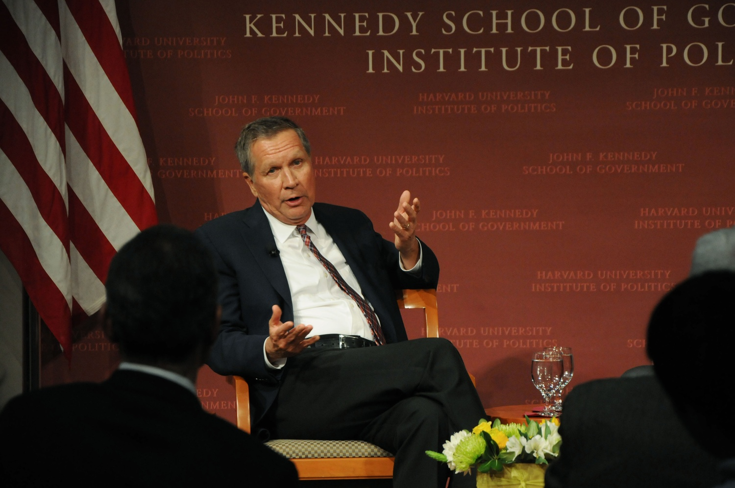 John Kasich, Ohio governor and former presidential candidate, spoke at the Institute of Politics Wednesday. Kasich is the author of Two Paths: America Divided or United.