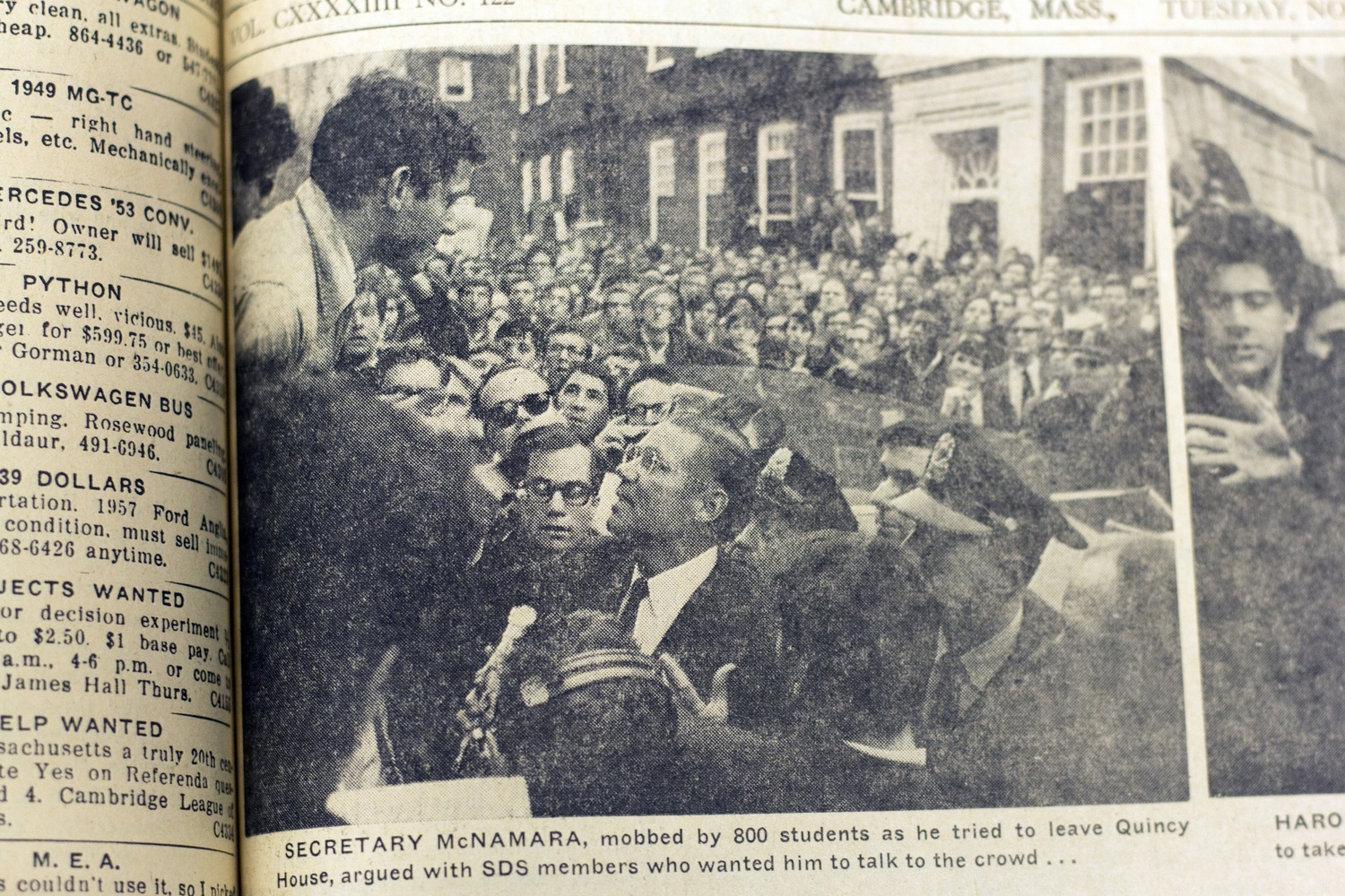 Secretary McNamara is shown being mobbed by 800 students in Quincy courtyard in 1967.