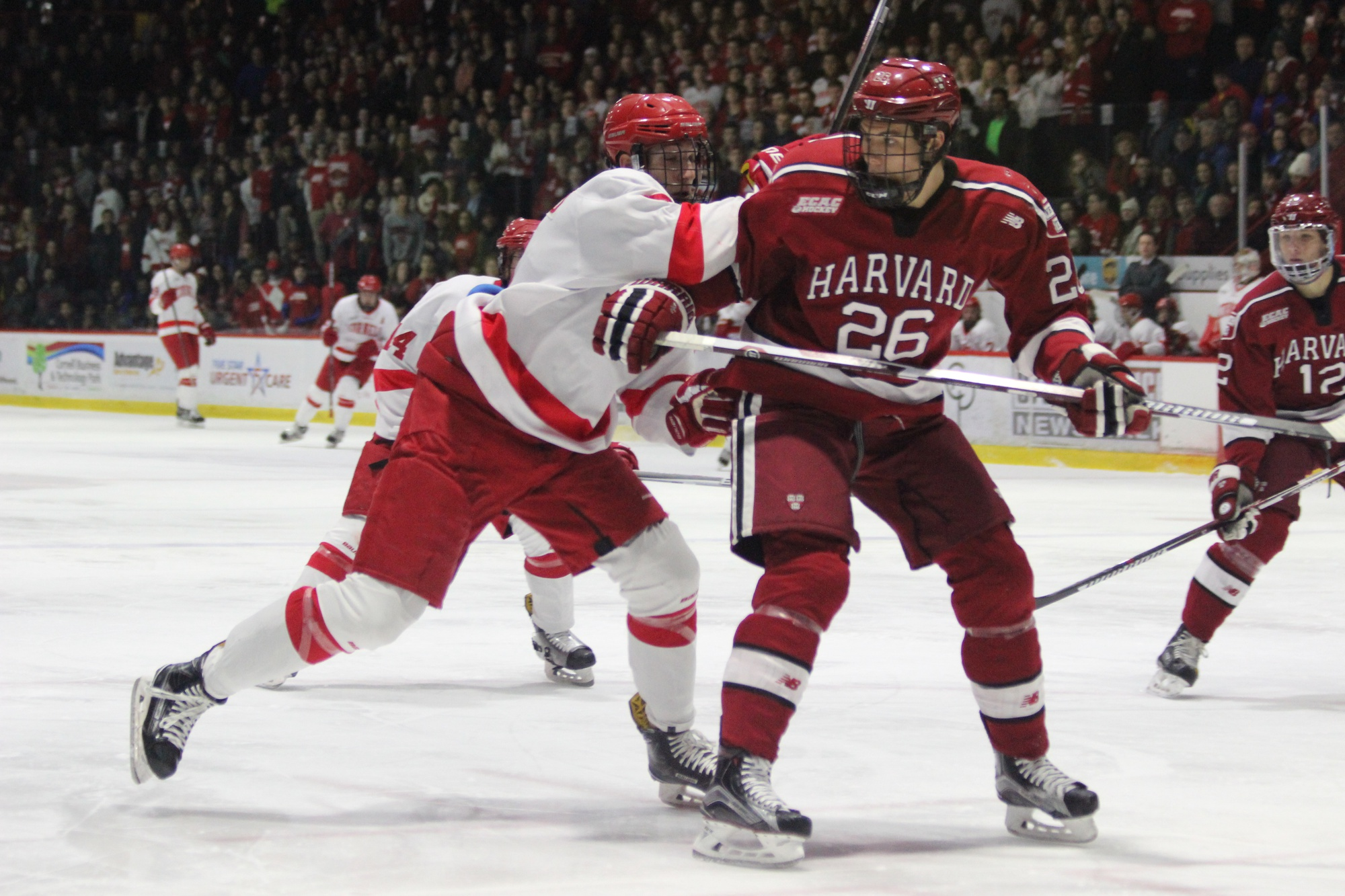 Sophomore defenseman Jacob Olson absorbs a blow from an attacker during a 4-1 win over Cornell on Jan. 27.