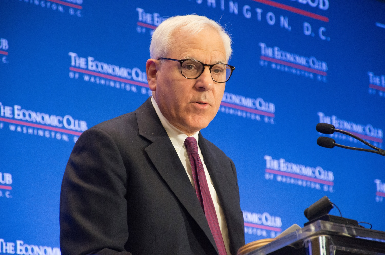 David Rubenstein, here speaking at the Economic Club in Washington, D.C. in 2017, joined the Harvard Corporation as its newest member in July.