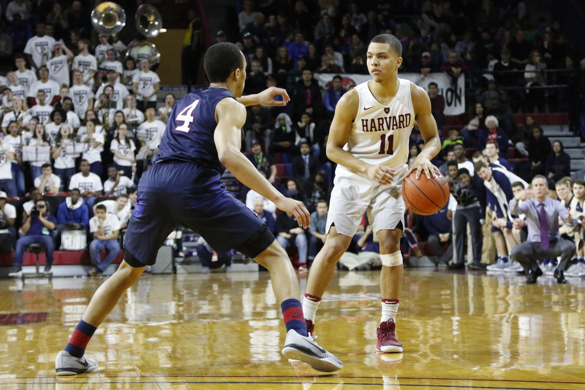 Freshman Bryce Aiken helped lead the Harvard men's basketball team to an 18-10 campaign. The point guard took home Ivy League Rookie of the Year honors.