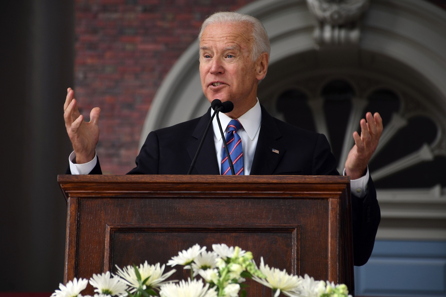Former Vice President and 2020 presidential candidate Joseph R. Biden Jr. delivers his speech at the 2017 Harvard Class Day exercises.