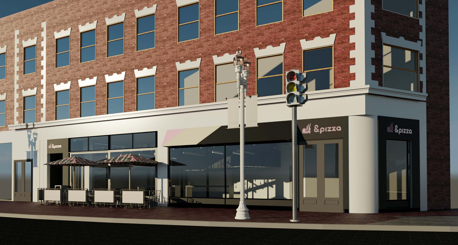 A rendering of the proposed &pizza restaurant in Harvard Square.