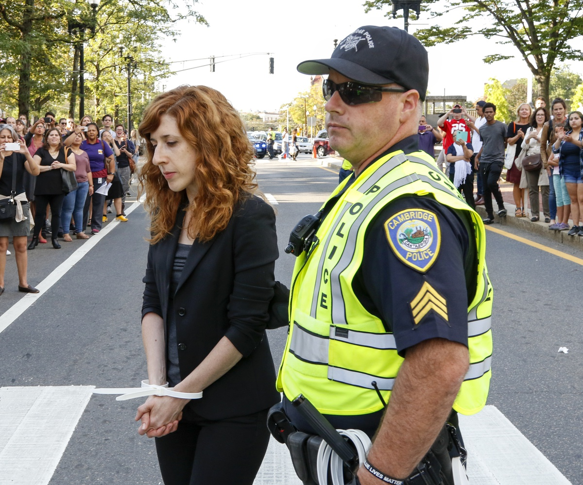 Professor Kirsten Weld was among the professors who were arrested on Thursday afternoon at a protest of the repeal of DACA.