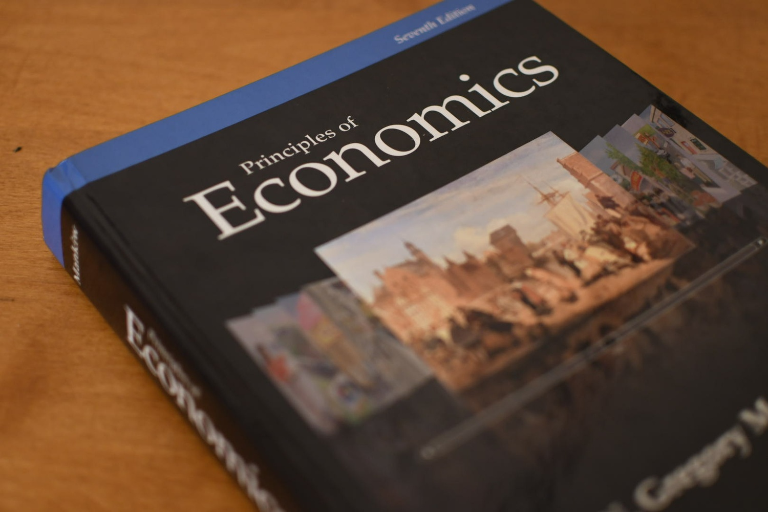 "A copy of the 7th edition of ""Principles of Economics"" by Prof. N. Gregory Mankiw, who teaches Economics 10."