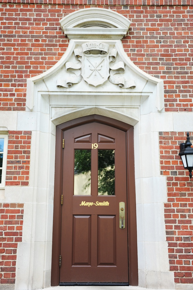 The front door of Mayo-Smith House, formerly Delta Chi Psi.