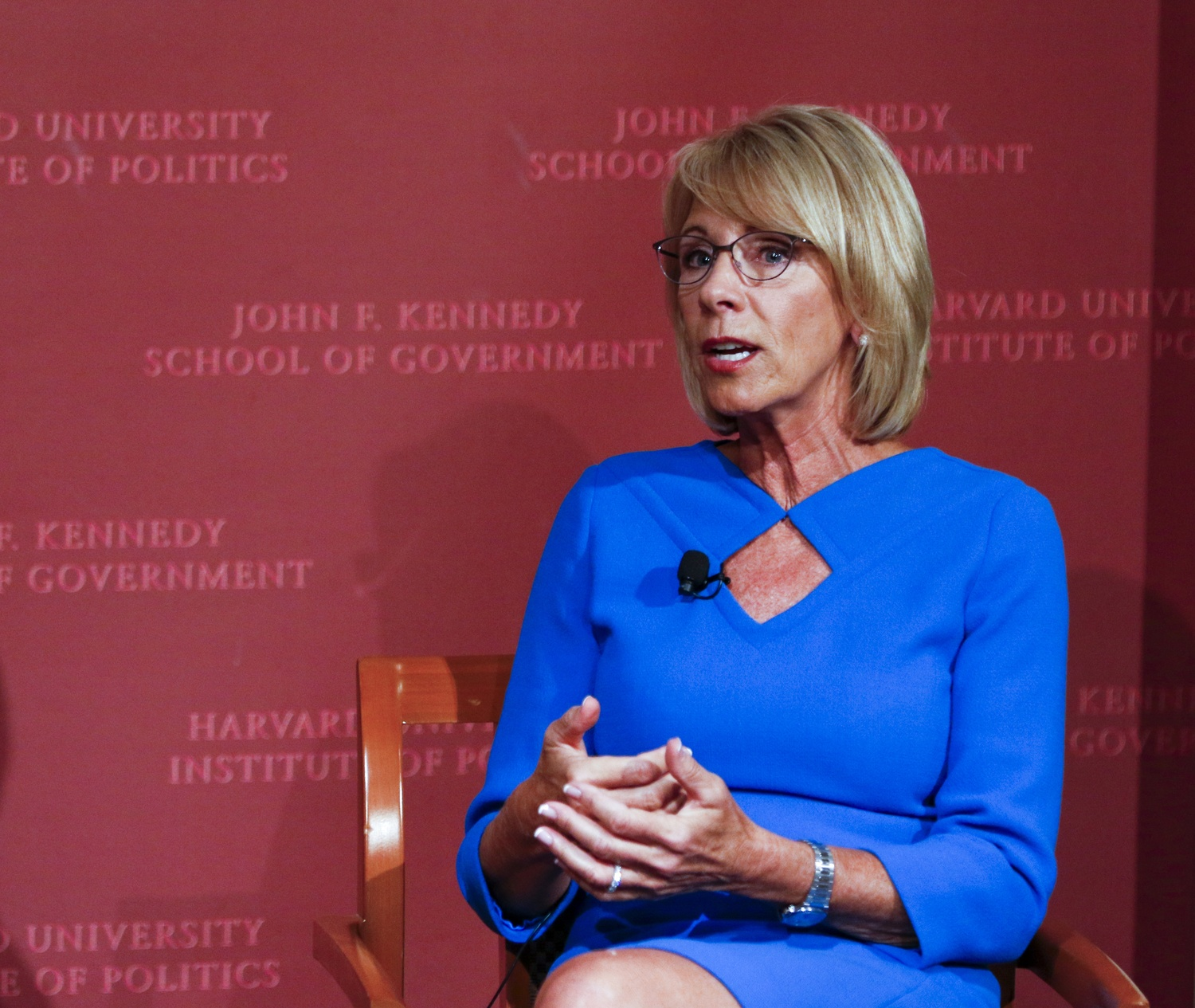 Secretary of Education Betsy DeVos spoke at the Harvard Kennedy School in 2017. Her department is reportedly considering changes to Title IX guidance that could have serious consequences for Harvard.