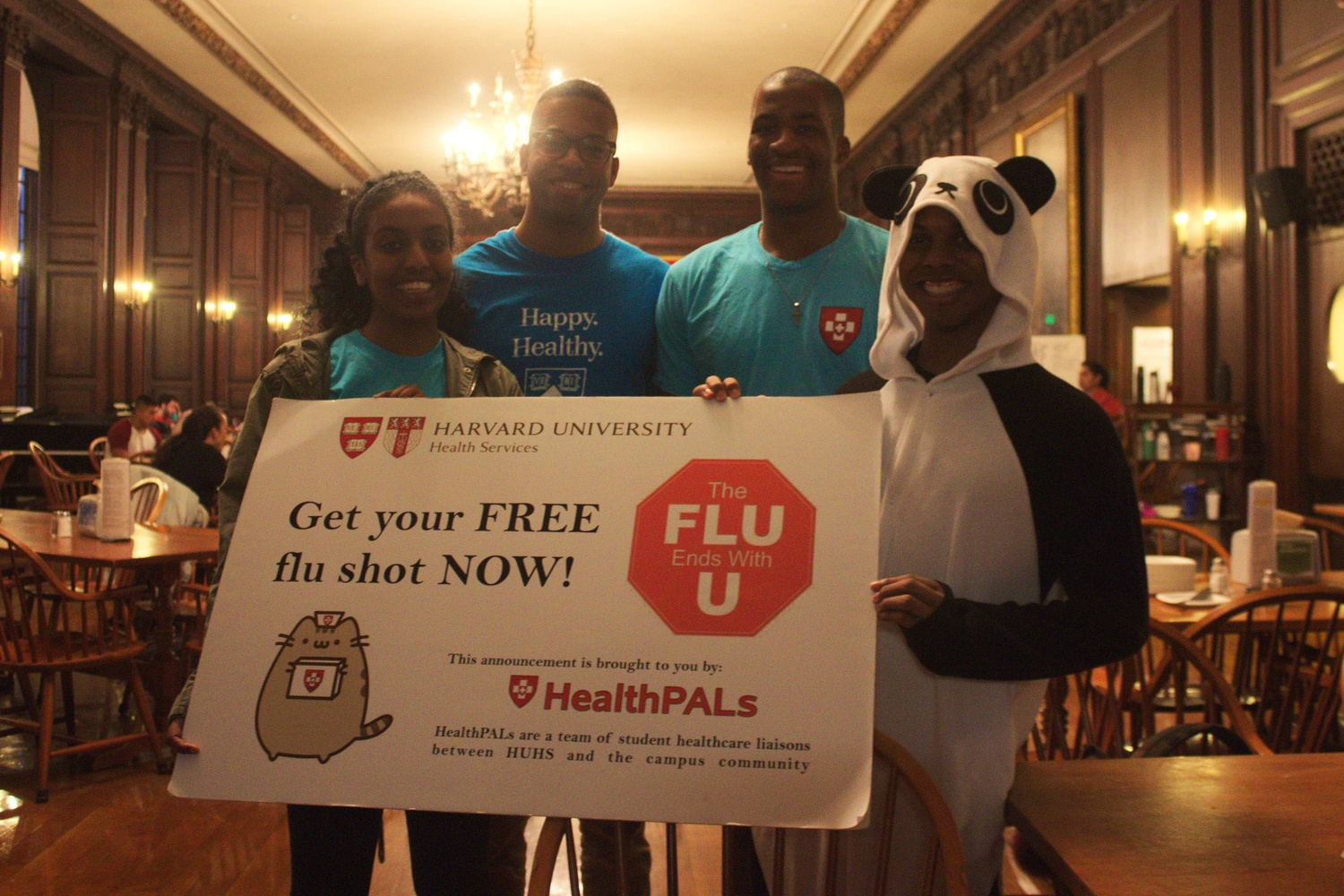 HealthPALs stand in Eliot House's dining hall during dinner hours to offer students the flu vaccine last fall.