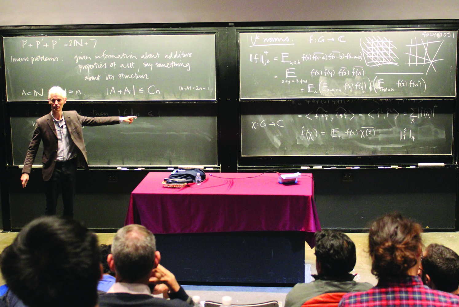 Renowned British mathematician Sir Timothy Gowers, a Fields Medalist, lectures on problems in additive combinatorics, as part of the Ahlfors lecture series organized by the Harvard Math Department.