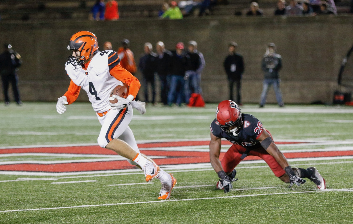 Princeton wide receiver Jesper Horsted cuts past senior defensive back Tobe Ezeokoli for a 66-yard score. In the first half, the Tigers accumulated 323 yards in the air.