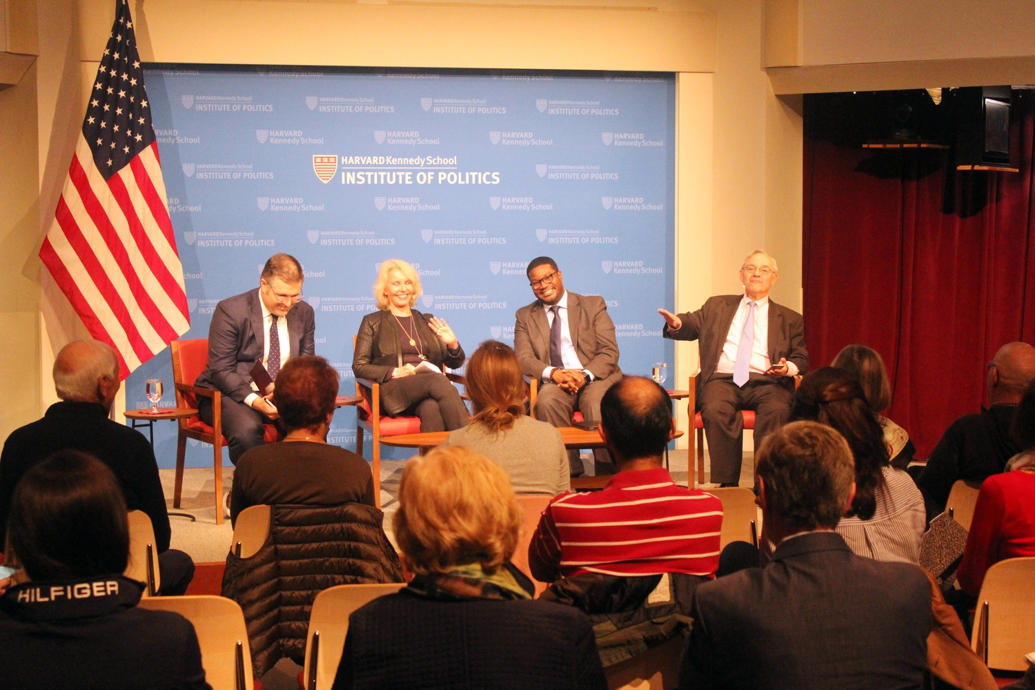 Professors and religion scholars discuss the Christian belief of connected financial prosperity and the will of God in the age of Trump at the IOP Monday night.