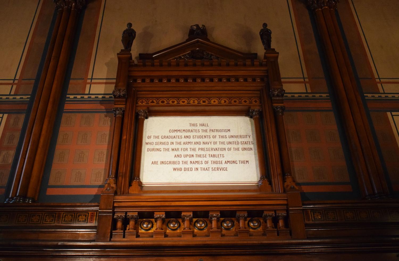 The center plaque of Memorial Hall