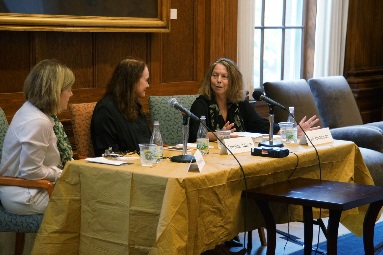 Jill E. Abramson '76, Lorraine Adams, and Claire Messud, all writers, discuss writing fiction and literature.