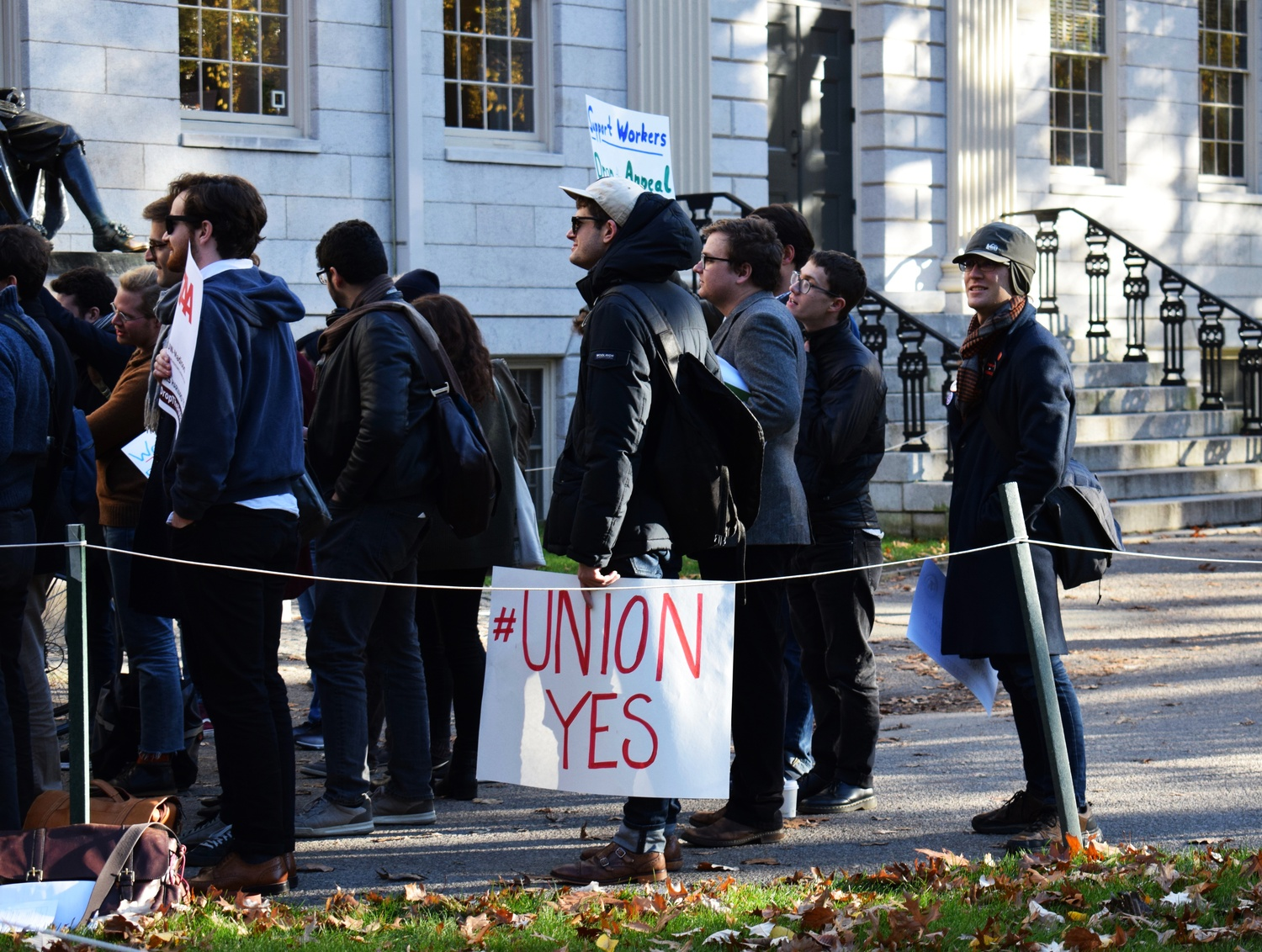 Graduate students involved in the unionization effort held a rally in 2017.