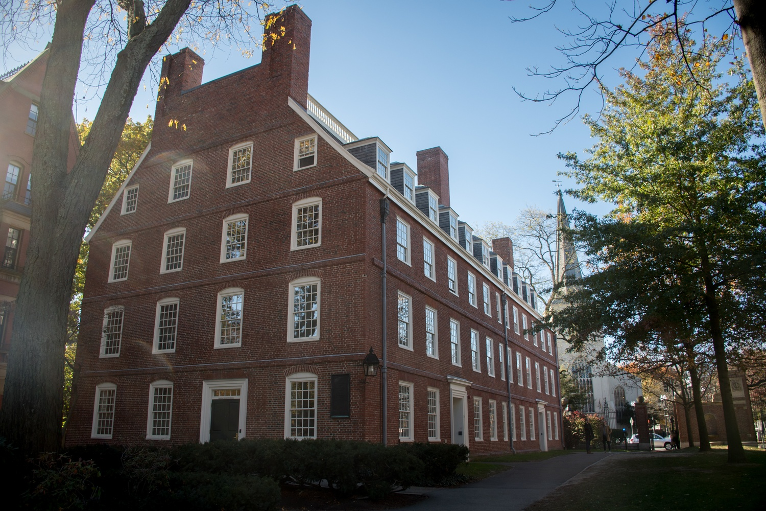 Massachusetts Hall, an administrative building, is located in Harvard Yard.
