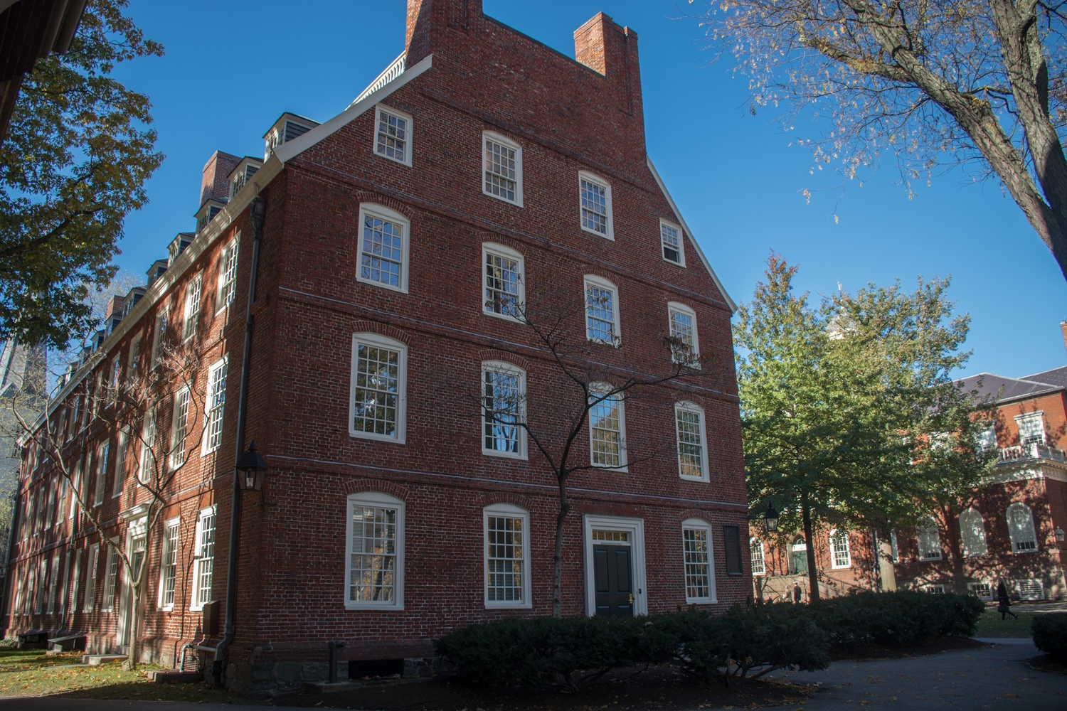 Massachusetts Hall houses the offices of the University President.