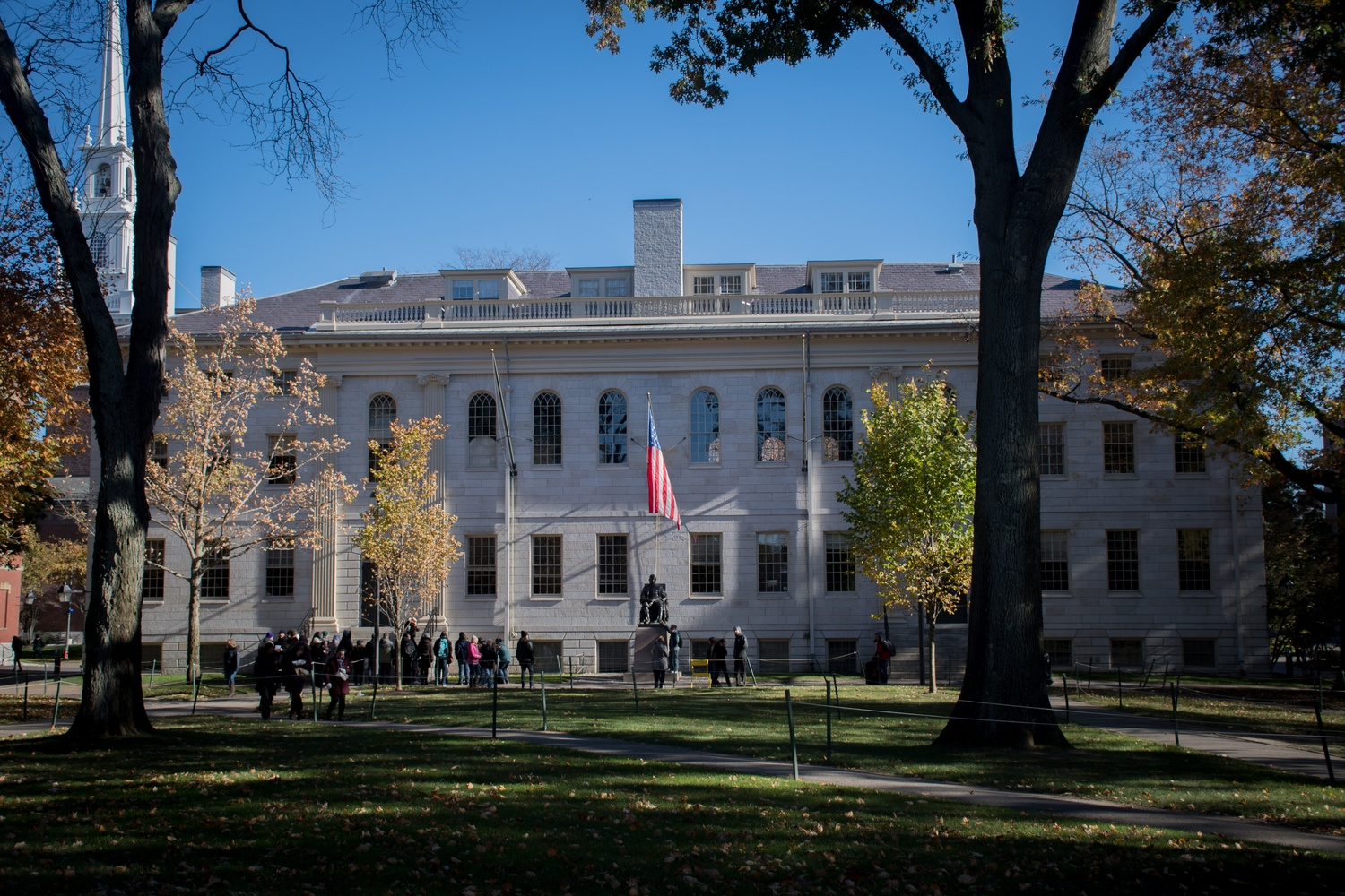 University Hall houses many of Harvard's top administrators.