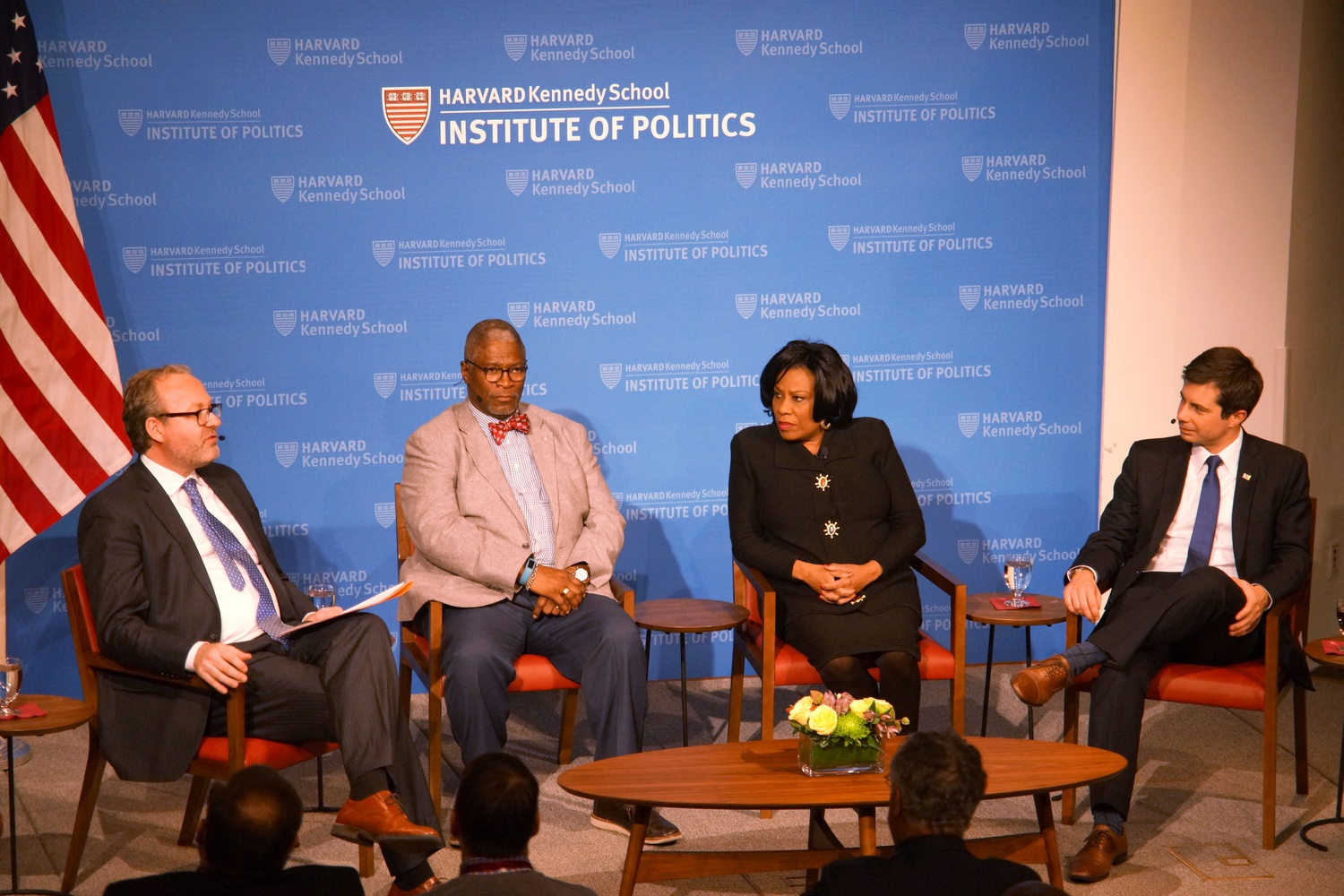 "Jorrit de Jong mediated a conversation between Peter P. M. Buttigieg '04, Sylvester ""Sly"" James Jr., and Sharon W. Broome at the IOP Tuesday night."