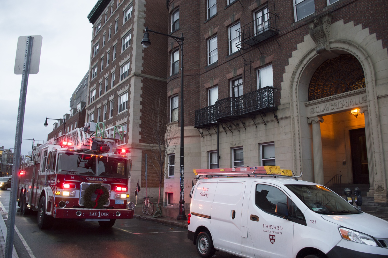 Cambridge Fire Dept. responded to reports of smoke, attributed to an overheated phone charger cable, in Adams House's Claverly Hall on Tuesday evening.