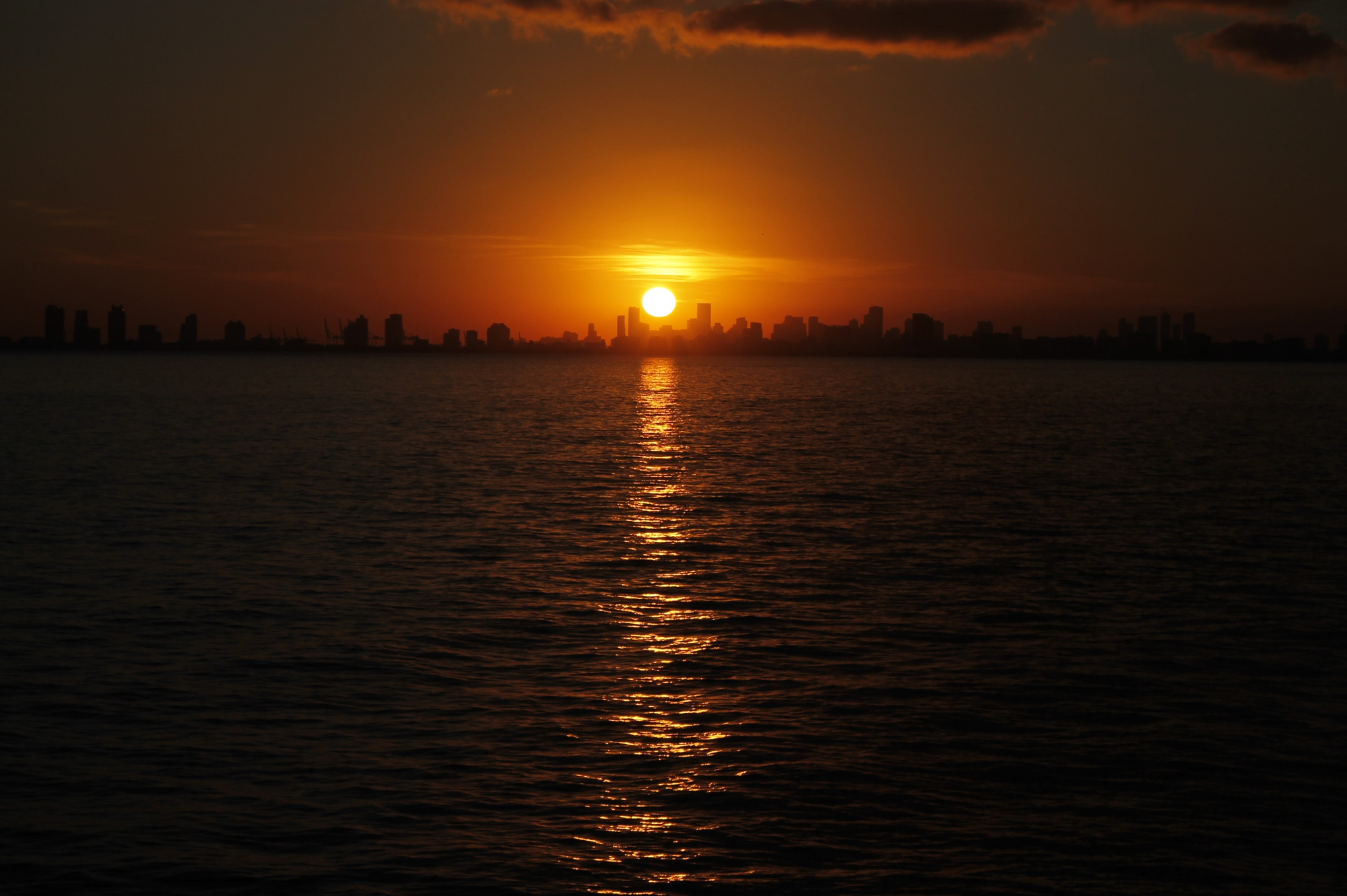 Leaving Florida with a stunning sunset over Miami, we saw the last sunlight of 2017. The ship left from Fort Lauderdale, putting us in perfect position to see the last sunset of the year over the city.