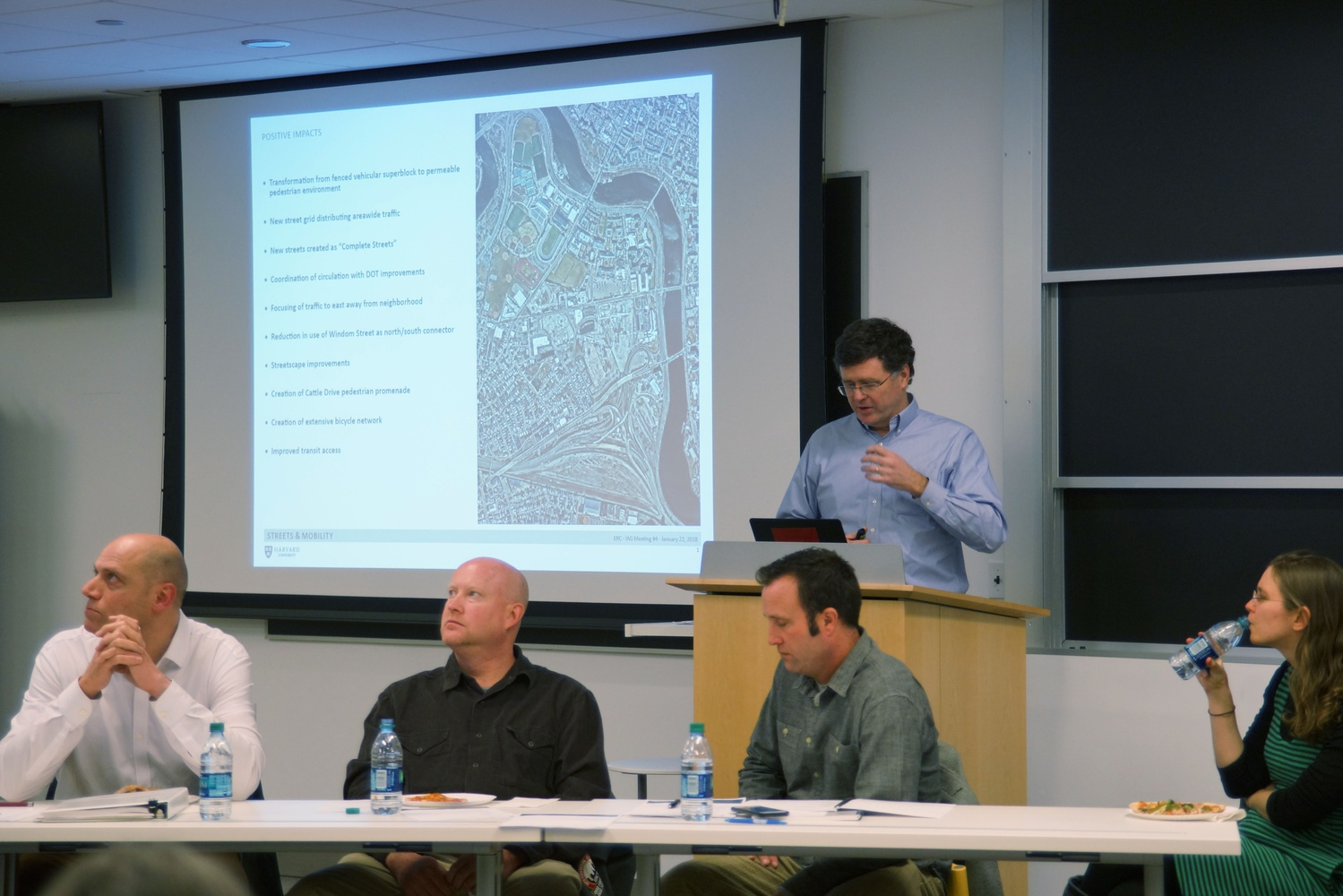 Gerald Autler speaks at the Harvard Enterprise Research Campus Impact Advisory Group meeting Monday evening.
