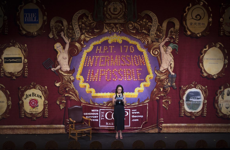 Amira T. Weeks '18 speaks onstage.