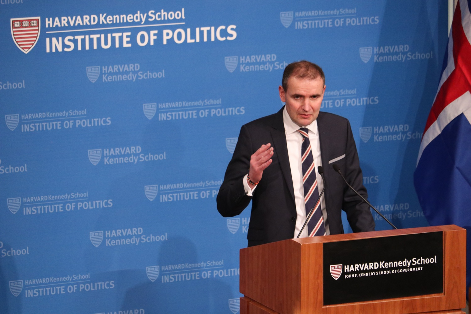 President of Iceland Guðni Th. Jóhannesson of Iceland addresses the John F. Kennedy Jr. Forum at the Institue of Politics on Friday.