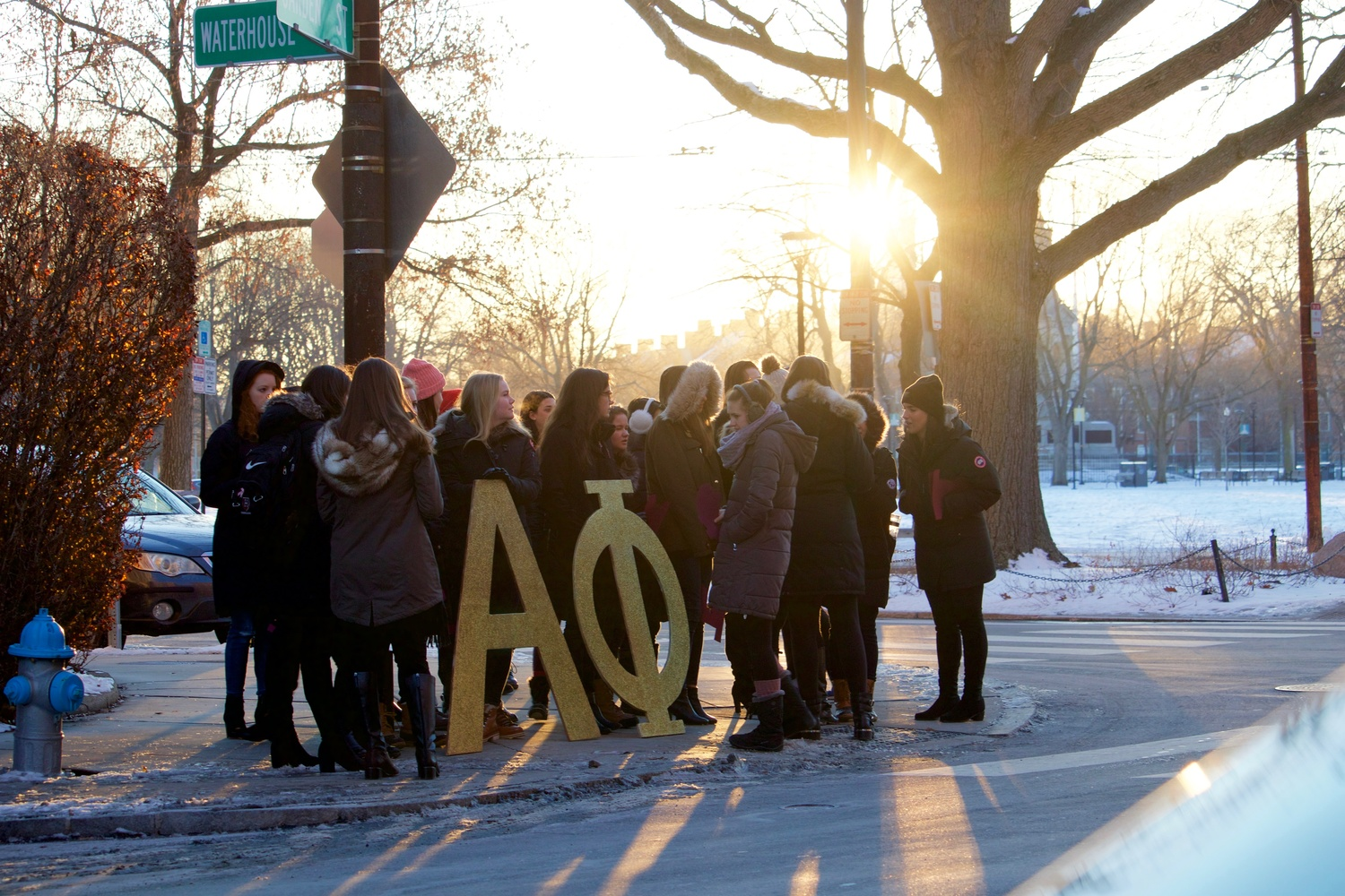 Alpha Phi members gather outside the Sheraton Commander on bid day.