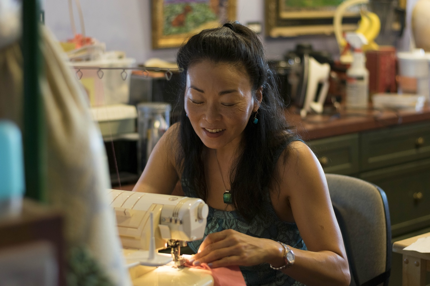 Pauline B. Lim '88 enjoys sewing in her free time.