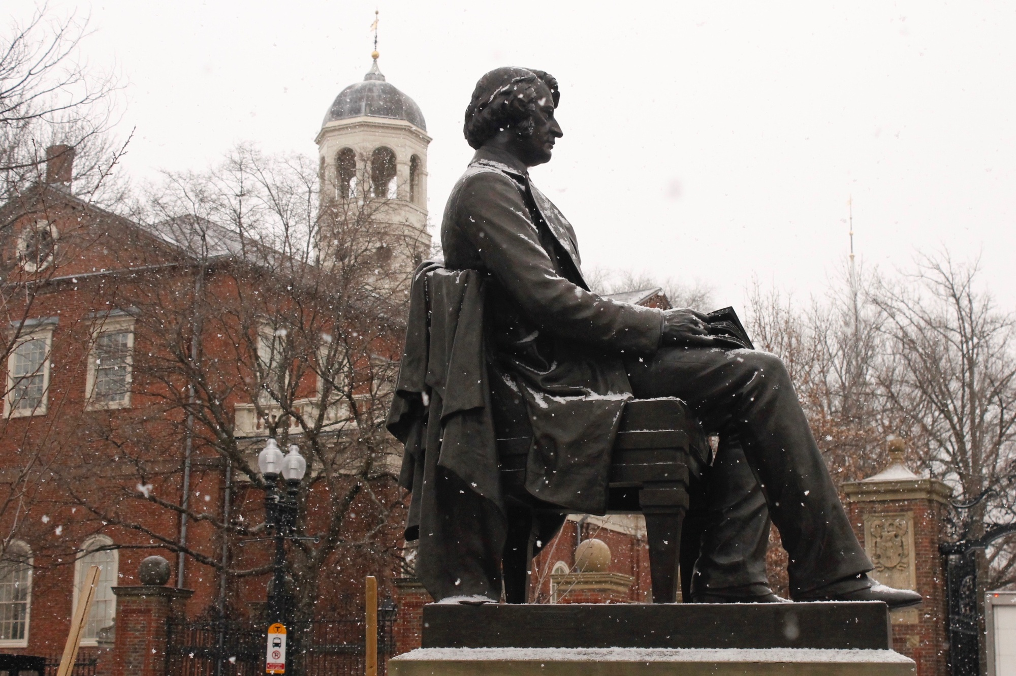 The Charles Sumner statue sits on an island right across the street from Johnston Gate, gazing over locals, students, and visitors alike.