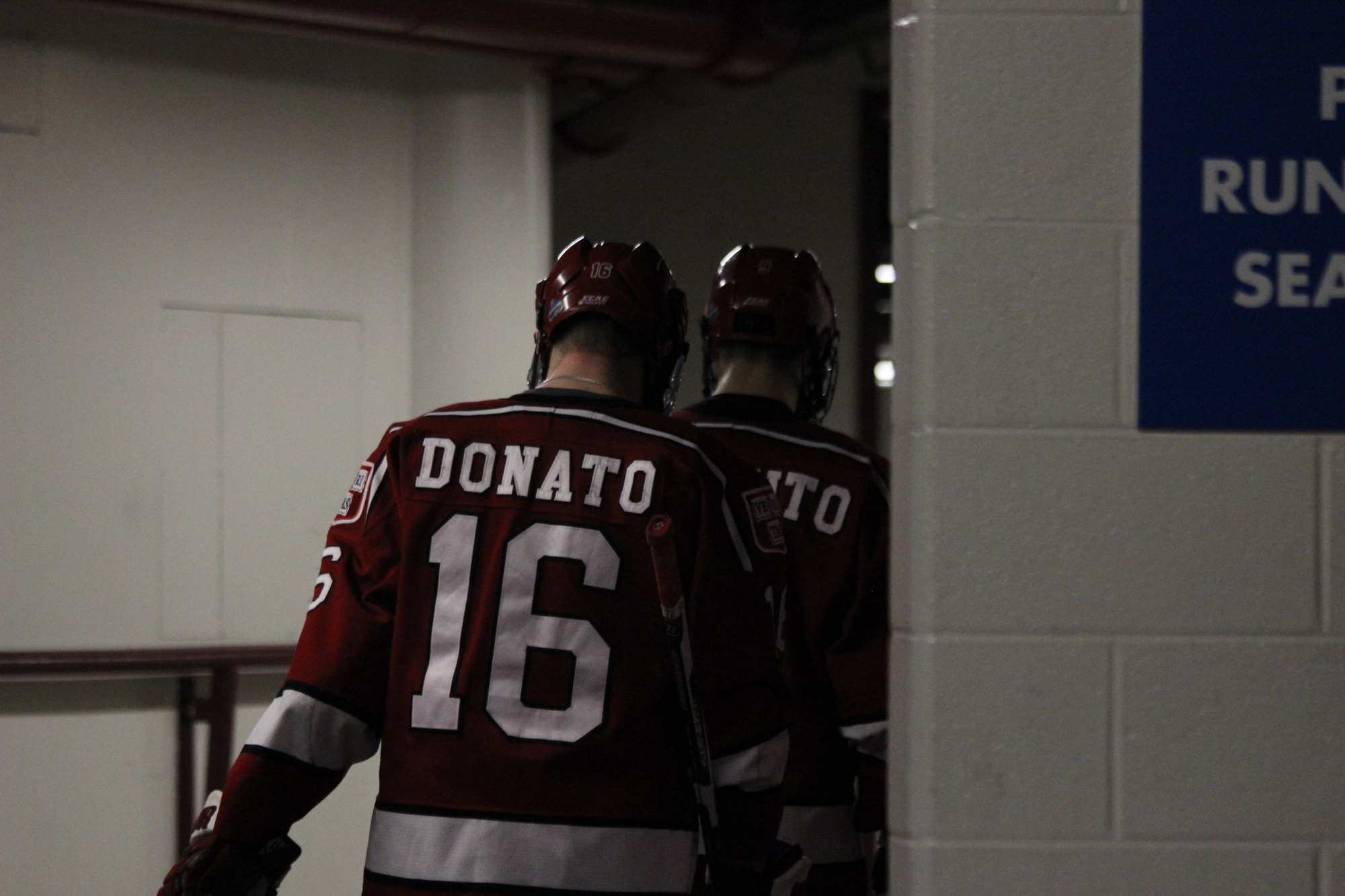 Ryan Donato walks down the tunnels of the United Center in Chicago after the 2-1 loss to Minnesota-Duluth in the Frozen Four. A sophomore at the time, Donato used the defeat as motivation to improve over the summer and come out of the gates strong in 2017-2018.