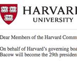 Harvard President email
